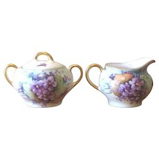 Antique Zeh Scherzer and Co., Bavaria Sugar and Creamer Set - Violets
