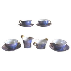 Vintage Periwinkle Blue Luster Ware Sugar, Creamer, Cups and Saucers - 10 Piece