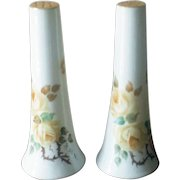 Vintage Yellow Rose Tapered Porcelain Salt and Pepper Shakers
