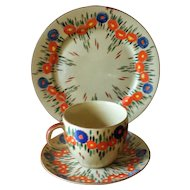 Vintage 1960s Poppy Teacup, Saucer and Cake or Sandwich Plate - Japan