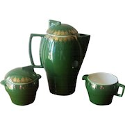 Vintage Art Deco Green Ceramic Coffee Pot Set with Sugar Bowl and Creamer