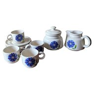 Vintage 1970's Mod Blue Flower Ceramic Coffee Cup, Sugar and Creamer Set