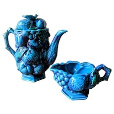 Vintage 1960's Inarco Blue Mood Indigo Teapot and Creamer