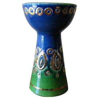 Vintage Rosenthal Netter Blue, Green and Gold Candlestick - Italy