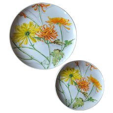 Vintage 1970's Chrysanthemum Cake Stand and Plate Set