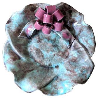Vintage Turquoise and Pink Ruffled Edge Ceramic Trinket Dish
