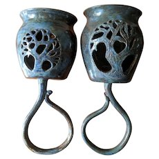 Vintage Blue Ceramic Tree of Life Wall Sconces - Set of 2