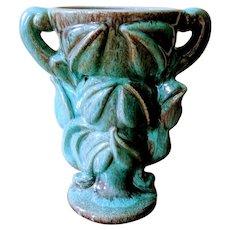 Vintage Turquoise Leaf Urn Vase Gonder Ceramic Arts