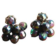 Vintage 1960's Black Glass AB Finish Cluster Earrings