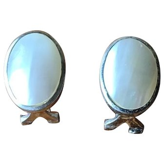 Vintage Carolee Sterling and Mother of Pearl French Clip Earrings