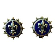 Vintage Fleur de Lis Button Style Earrings