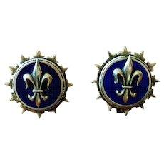 Vintage Fleur de Lis Button Style Earrings