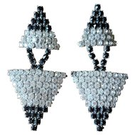 Vintage Black and White Rhinestone Statement Runway Earrings