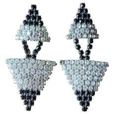 Vintage Black and White Rhinestone Statement Runway Earrings