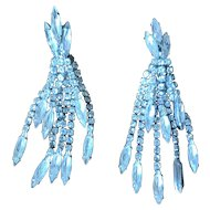 Vintage Long Rhinestone Dangle Earrings