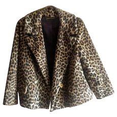 Vintage 1960's Kilimanjaro Faux Fur Leopard Print Jacket from Sidney Blumenthal for Abraham and Straus