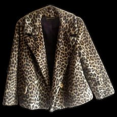 Vintage 1960's Kilimanjaro Faux Fur Leopard Print Jacket from Sidney Blumenthal for Abraham and Straus - Red Tag Sale Item