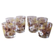 Vintage 1970's Libbey Rocks Glasses Autumn Daisy - Set of 8
