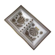 Vintage 1960's Georges Briard Gold and White Shell Motif Glass Dual Compartment Serving Tray