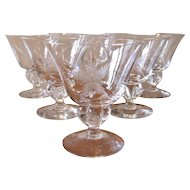 Mid Century Etched Atomic Crystal Cocktail Stemware Set - 12 Piece