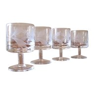 Vintage Hand Blown Floral Etch Cordial Glasses - Set of 4