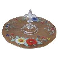 Vintage Hand Painted Fleur de Lis Handled Glass Serving Tray