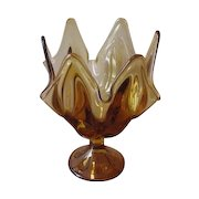 Vintage Viking Amber Glass Handkerchief Vase