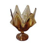 Vintage Viking Amber Glass Handkerchief Vase