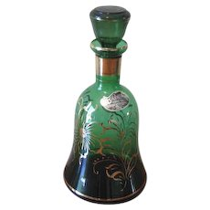 Vintage Rossini Emerald Green Empoli Glass Decanter