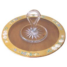 Mid Century Hand Painted Gold Trimmed Serving Tray from Westmoreland Glass