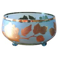 Mid Century Blue Glass Compote Bowl with Gold Overlay