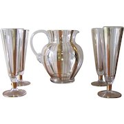 Vintage Set of Pilsner Glasses with Matching Pitcher - Gold Stripe