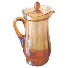 Vintage Amber Glass Lidded Lemonade Pitcher