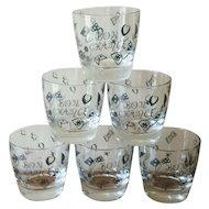 Vintage 1960s Casino Bon Chance Oversized Rocks Glasses - Set of 6
