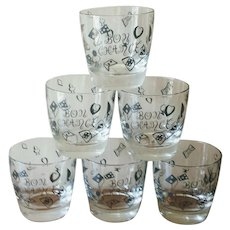 Vintage 1960s Casino Bon Chance Oversized Rocks Glasses - Set of 6