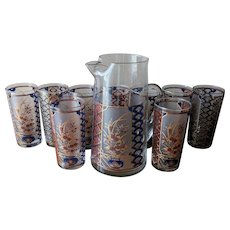Vintage 1980's Culver Pitcher and Tumbler Set with Asian Chinoiserie Motif