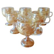 Late 19th Century Bohemian Glass Grape and Fern Heavy Gilt Footed Punch Cups