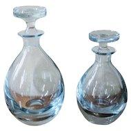 Vintage 1950's Strombergshyttan Blue Art Glass Decanter Set