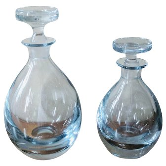 Vintage 1950's Strombergshyttan Blue Art Glass Decanter Set