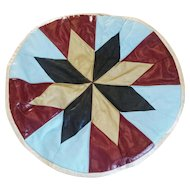 Vintage 1960s Multi Color Cross Star Design Leather Pouf or Hassock