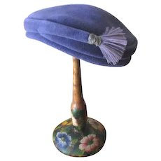 Vintage 1950s Ladies Periwinkle Blue Felt Hat with Feathered Side Tassel