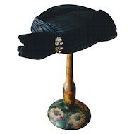Vintage 1950's Black Velvet and Satin Cocktail Hat with Rhinestone Clip