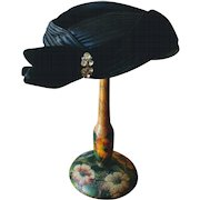 Vintage 1950's Black Velvet and Satin Cocktail Hat with Rhinestone Clip