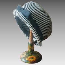 Vintage 1960's Black and White Stripe Cloche Hat with Black Grosgrain Ribbon and Bow