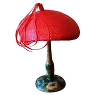 Vintage 1960's Raspberry Tassel Beret Hat