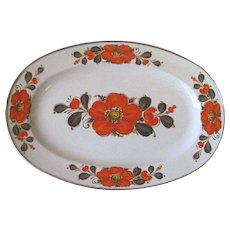 Vintage Orange Poppy Serving Platter