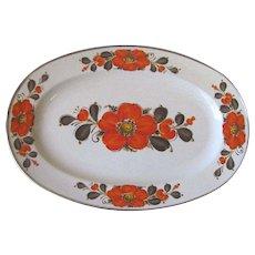 Vintage Show Pans Sanko Ware Orange Poppy Serving Platter