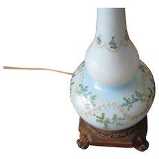 Vintage Pale Blue Floral Hand Blown Glass Table Lamp