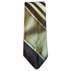 Vintage 1970's Brown, Gold & Pale Yellow Oleg Cassini Men's Tie