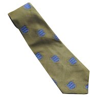 Vintage 1970's Olive Green & Royal Blue Crested Men's Tie